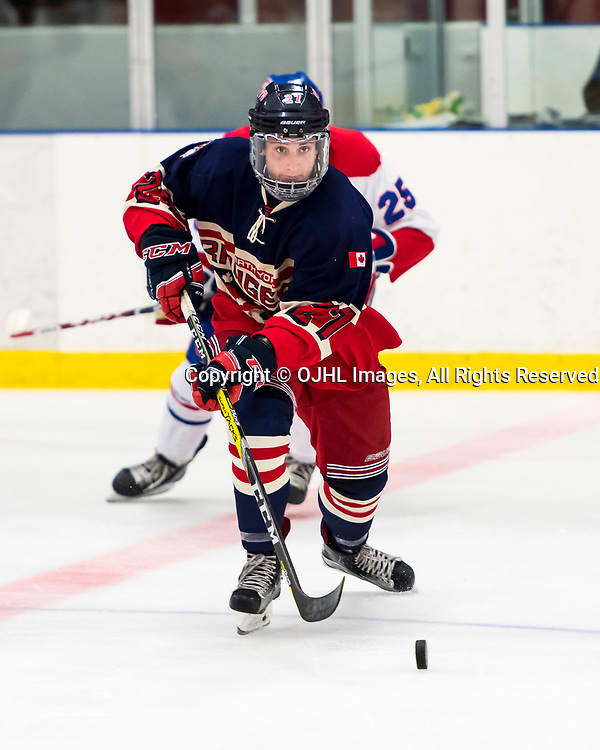 NORTH YORK, ON  - OCT 8,  2017: Ontario Junior Hockey League game between the North York Rangers and the Toronto Jr. Canadiens, Ross Krieger #27 of the North York Rangers skates after the puck during the third period.<br /> (Photo by Catherine Kim / OJHL Images)