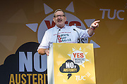 Len McClusky  Unite speaking at the TUC demo at the Conservative party conference, Manchester. 4th October 2015