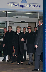 © Licensed to London News Pictures. 02/03/2012. London, UK. Queen Beatrix of the Netherlands and Princess Mabel of Orange-Nassau (centre) leaving The Wellington Hospital in London hand in hand today (02/03/2012) after visiting Prince Friso at His Hospital bed. Prince Johan Friso, who has been in a coma since a skiing accident two weeks ago, has been flown from Austria to the London Hospital. Photo credit : Ben Cawthra/LNP
