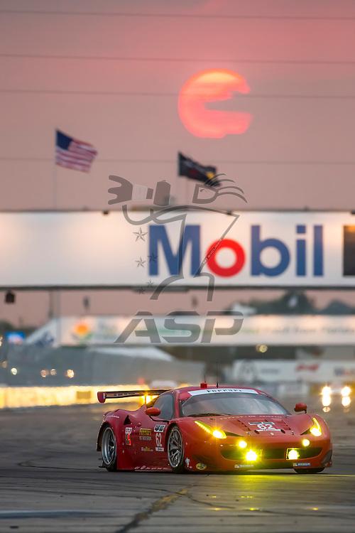 Sebring, FL - Mar 19, 2015:  The Risi Competizione Ferrari races through the turns at 12 Hours of Sebring at Sebring Raceway in Sebring, FL.