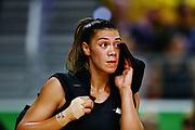Grace Kara of New Zealand looks on after losing to England. Gold Coast 2018 Commonwealth Games, Netball, New Zealand Silver Ferns v England, Gold Coast Convention and Exhibition Centre, Gold Coast, Australia. 11 April 2018 © Copyright Photo: Anthony Au-Yeung / www.photosport.nz