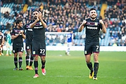 Aston Villa Midfielder Robert Snodgrass (Right) & Aston Villa Midfielder Ahmed Elmohamady (Left) gesture towards the Aston Villa fans at full time as they win 2-4 during the EFL Sky Bet Championship match between Sheffield Wednesday and Aston Villa at Hillsborough, Sheffield, England on 24 February 2018. Picture by Craig Zadoroznyj.