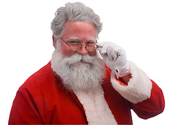 Santa looking over the top of his glasses against a white background