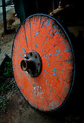 Costa Rica, Sarchi, Don Eloy Alfaro Oxcart Factory, Refurbished Antique Oxcart Wheel