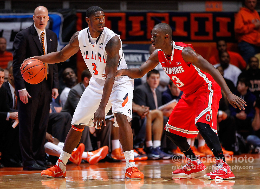 CHAMPAIGN, IL - JANUARY 05: Brandon Paul #3 of the Illinois Fighting Illini dribbles the ball against Shannon Scott #3 of the Ohio State Buckeyes at Assembly Hall on January 5, 2013 in Champaign, Illinois. Ilinois defeated Ohio State 74-55. (Photo by Michael Hickey/Getty Images) *** Local Caption *** Brandon Paul; Shannon Scott