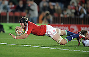 Stephen Ferris of the British&Irish Lions, dives over for his try against the Xerox Lions.<br /> Rugby - 090602 - British&Irish Lions v Xerox Lions - Coca-Cola Park - Johannesburg - South Africa.<br /> Photographer : Anton de Villiers / SASPA