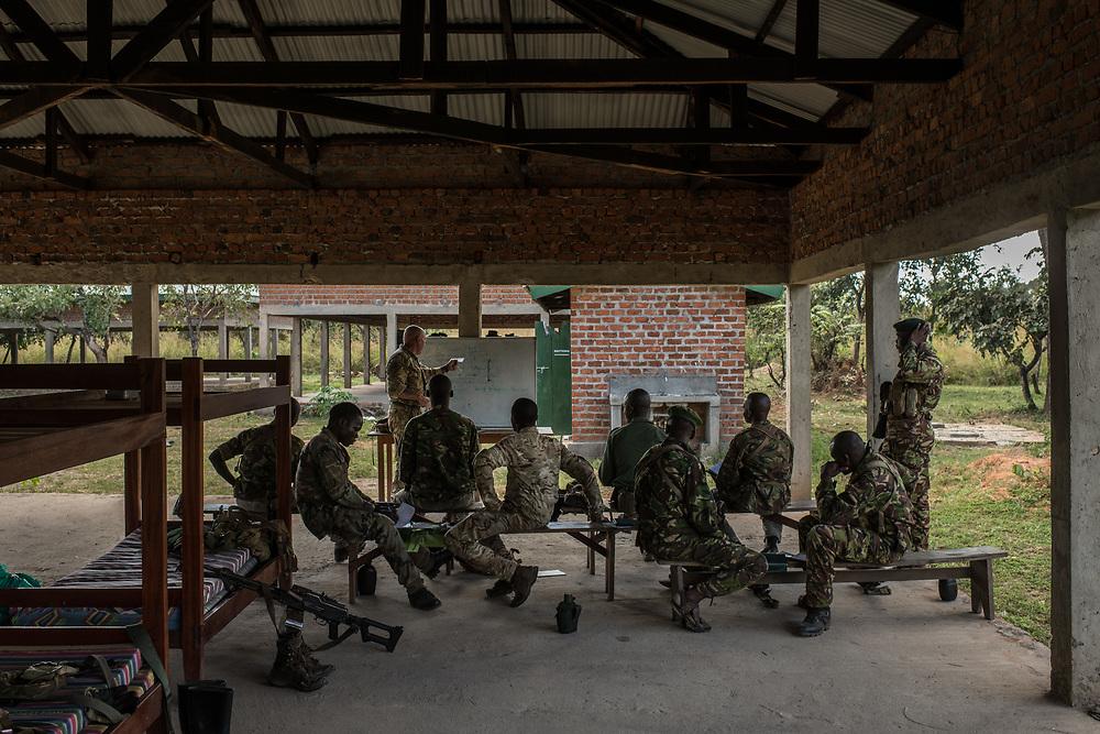 Rangers in a classroom training at Garamba National Park Headquarters on November 27, 2017.