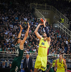 November 21, 2018 - Athens, Greece - Ante Tomic of Barcelona  BC seen in action during the 2018/2019 Turkish Airlines EuroLeague Regular Season Round 8 game between Panathinaikos OPAP Athens and FC Barcelona Lassa at Olympic Sports Center Athens. (Credit Image: © Ioannis Alexopoulos/SOPA Images via ZUMA Wire)