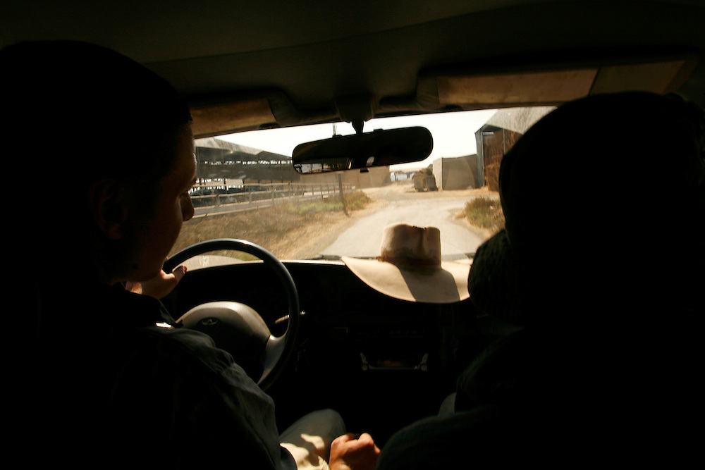 Yehuda Gilad 27( on the left) and   Yair Negev 24..Driving the there pickup truck to the pasture of the cattle next to Moshav Yehonatan in the Golan height Israel October, 07, 2007....