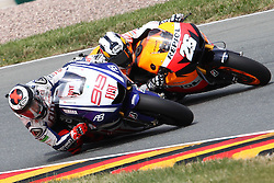 17.07.2010, Sachsenring, GER, MotoGP, Deutschland Grand Prix 2010, im Bild Dani Pedrosa - Repsol Honda team  and Jorge Lorenzo - Fiat Yamaha team. EXPA Pictures © 2010, PhotoCredit: EXPA/ InsideFoto/ Semedia +++ ATTENTION - FOR AUSTRIA AND SLOVENIA CLIENT ONLY +++ / SPORTIDA PHOTO AGENCY