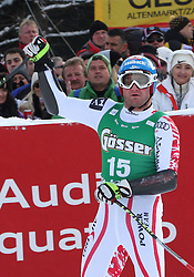 21.01.2011, Hahnenkamm, Kitzbuehel, AUT, FIS World Cup Ski Alpin, Men, Super G, im Bild Georg Streitberger (AUT) reacts in the finish area after competing in the 2011 Hahnenkamm Super Giant Slalom race (Super G)part of  Audi FIS World Cup races in Kitzbuhel Austria. EXPA Pictures © 2011, PhotoCredit: EXPA/ M. Gunn