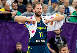 Sasa Zagorac of Slovenia during basketball match between National Teams of Finland and Slovenia at Day 3 of the FIBA EuroBasket 2017 at Hartwall Arena in Helsinki, Finland on September 2, 2017. Photo by Vid Ponikvar / Sportida