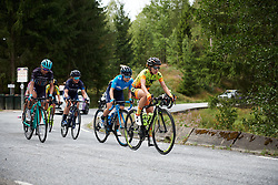 Ane Santesteban (ESP), Lourdes Oyarbide (ESP) and Anna Christian (GBR) in the break on the categorised climb at Ladies Tour of Norway 2018 Stage 3. A 154 km road race from Svinesund to Halden, Norway on August 19, 2018. Photo by Sean Robinson/velofocus.com