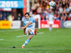 Argentina Fly-Half Nicolas Sanchez kicks a conversion - Mandatory byline: Rogan Thomson/JMP - 07966 386802 - 25/09/2015 - RUGBY UNION - Kingsholm Stadium - Gloucester, England - Argentina v Georgia - Rugby World Cup 2015 Pool C.