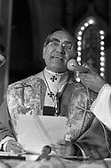 Monsenor Oscar Arnulfo Romero da una homilia en la Basílica Sagrado Corazon en San Salvador, El Salvador March 09,1980. Monsenor Romero 2018 fue beatificado como Santo por el Papa Francisco después de un largo proceso en el que para muchos era ya considerado como San Romero de America. Photo: IMAGENESLIBRES