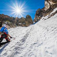Brandon Prince climbing Mount Heyburn in the Sawtooth Mountain Range