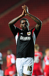 Bristol City's Jay Emmanuel-Thomas applauds the fans support - Photo mandatory by-line: Dougie Allward/JMP - Tel: Mobile: 07966 386802 24/09/2013 - SPORT - FOOTBALL - St Mary's Stadium - Southampton - Southampton V Bristol City - Capital One Cup