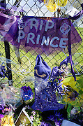 "Large ""RIP Prince"" printed on purple fabric on fence with purple balloons and flowers. Paisley Park Chanhassen Minnesota MN USA"