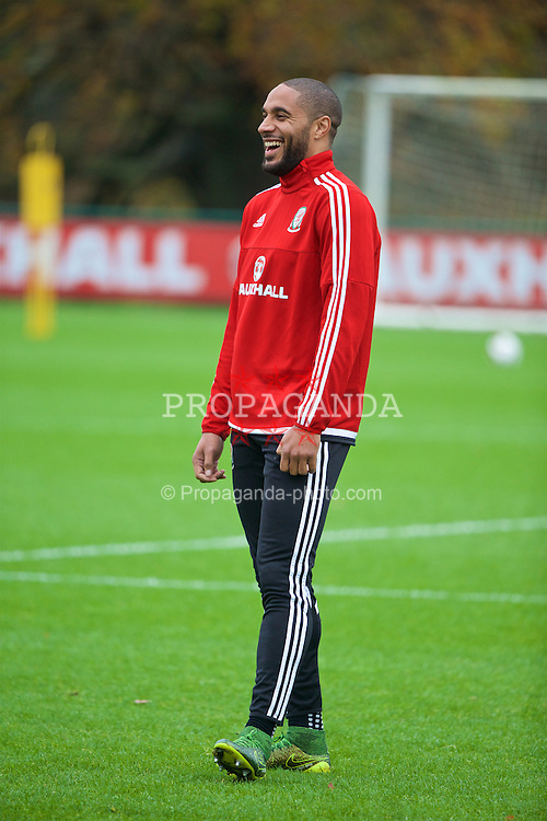 CARDIFF, WALES - Tuesday, November 10, 2015: Wales' captain Ashley Williams during a training session at the Vale of Glamorgan ahead of the International Friendly against the Netherlands. (Pic by David Rawcliffe/Propaganda)