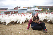 Upstate, NY - October 24, 2016: The staff of Fleisher's Craft Butchery gather for an annual farm tour in Central New York State. <br /> <br /> CREDIT: Clay Williams.<br /> <br /> &copy; Clay Williams / claywilliamsphoto.com