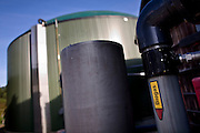 Biogas tank at the Sterksel Practice Center. Biogas extracted from pig faeces (slurry) is converted to bio energy at the Sterksel Practice Center (Praktijkcentrum Sterksel) in Sterksel, The Netherlands on 20 October, 2008. Beside their pig dairy farm that runs completely on bio energy, Sterksel Practice Center delivers bio electricity with a capacity for approximately 700 households.  (Photo by Michel de Groot)