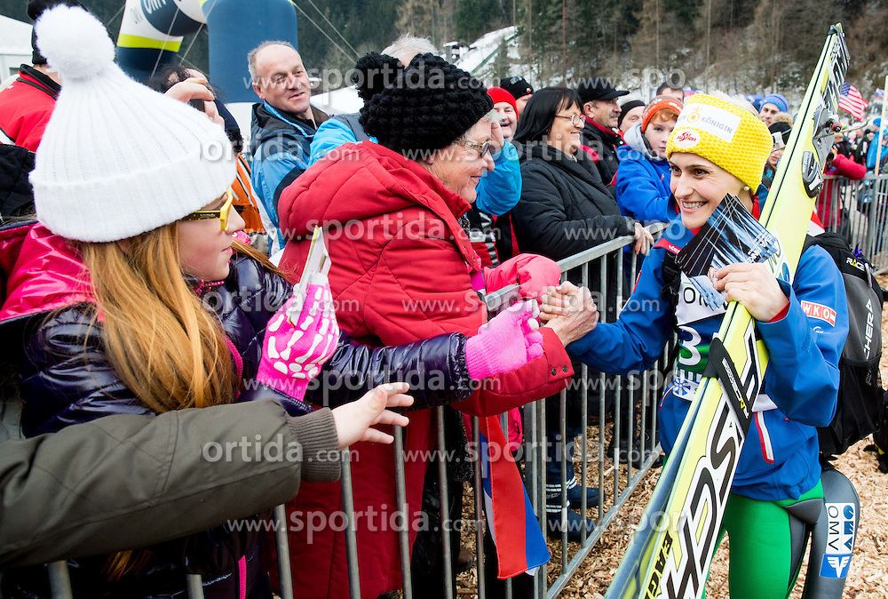 Fans with Eva Pinkelnig (AUT) during Final Round at Day 1 of World Cup Ski Jumping Ladies Ljubno 2015, on February 14, 2015 in Ljubno, Slovenia. Photo by Vid Ponikvar / Sportida