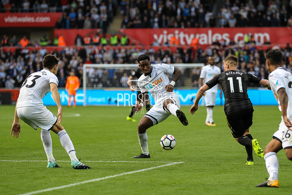 Leroy Fer of Swansea City controls the ball during the Premier League match between Swansea City and Newcastle United at the Liberty Stadium, Swansea, Wales on 10 September 2017. Photo by Andrew Lewis.
