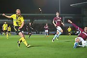 Burton Albion  forward Liam Boyce(27) scores a goal, 1-0 during the second round or the Carabao EFL Cup match between Burton Albion and Aston Villa at the Pirelli Stadium, Burton upon Trent, England on 28 August 2018.