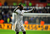 Saturday, 03 November 2012..Pictured: Jonathan de Guzman of Swansea celebrating team mate's Pablo Hernandez' goal..Re: Barclays Premier League, Swansea City FC v Chelsea at the Liberty Stadium, south Wales.