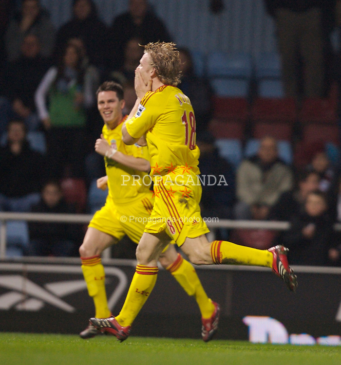 London, England - Tuesday, January 30, 2007: Liverpool's Dirk Kuyt celebrates scoring the opening goal against West Ham United during the Premiership match at Upton Park. (Pic by David Rawcliffe/Propaganda)