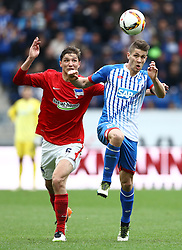 16.04.2016, Wirsol Rhein Neckar Arena, Sinsheim, GER, 1. FBL, TSG 1899 Hoffenheim vs Hertha BSC, 30. Runde, im Bild Andrej Kramaric (TSG 1899 Hoffenheim) im Zweikampf mit Niklas Stark (Hertha BSC Berlin) // during the German Bundesliga 30th round match between TSG 1899 Hoffenheim and Hertha BSC at the Wirsol Rhein Neckar Arena in Sinsheim, Germany on 2016/04/16. EXPA Pictures © 2016, PhotoCredit: EXPA/ Eibner-Pressefoto/ Neis<br /> <br /> *****ATTENTION - OUT of GER*****