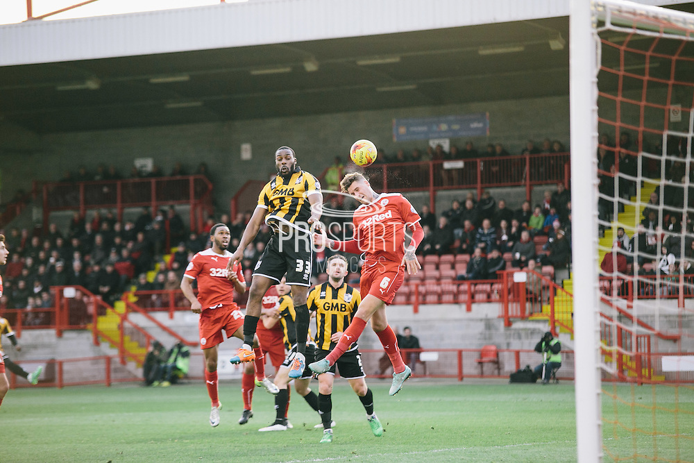 crawleys sonny bradley attempt on goal during the Sky Bet League 1 match between Crawley Town and Port Vale at Broadfield Stadium, Crawley, England on 20 December 2014. Photo by Sam Shaw.