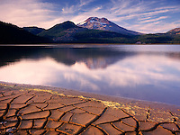 CRACKED MUD ALONG SPARKS LAKE, CENTRAL CASCADES OREGON