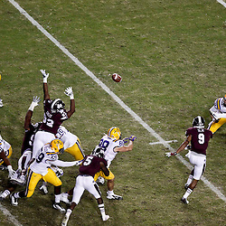November 10, 2012; Baton Rouge, LA, USA;  LSU Tigers kicker Drew Alleman (30) kicks a field goal during the second half of a game against the Mississippi State Bulldogs at Tiger Stadium.  LSU defeated Mississippi State 37-17. Mandatory Credit: Derick E. Hingle-US PRESSWIRE