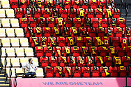 Fans scarves are laid on seats inside the ground during the Premier League match at Vicarage Road, Watford. Picture date: 20th June 2020. Picture credit should read: Darren Staples/Sportimage