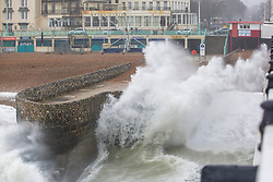 © Licensed to London News Pictures. 27/10/2019. Brighton, UK. Powerful waves and strong gusts of wind up to 80 mph are hitting the beachfront in Brighton and Hove. Photo credit: Hugo Michiels/LNP