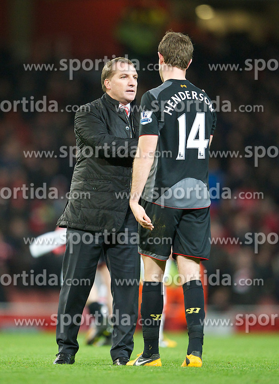 30.01.2013, Emirates Stadion, London, ENG, Premier League, FC Arsenal vs FC Liverpool, 24. Runde, im Bild Liverpool's manager Brendan Rodgers with goal-scorer Jordan Henderson after the 2-2 draw with Arsenal during the English Premier League 24th round match between Arsenal FC and Liverpool FC at the Emirates Stadium, London, Great Britain on 2013/01/30. EXPA Pictures © 2013, PhotoCredit: EXPA/ Propagandaphoto/ David Rawcliffe..***** ATTENTION - OUT OF ENG, GBR, UK *****