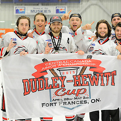 FORT FRANCES, ON - May 2, 2015 : Central Canadian Junior &quot;A&quot; Championship, game action between the Fort Frances Lakers and the Soo Thunderbirds, Championship game of the Dudley Hewitt Cup, Soo Thunderbirds players celebrate the Dudley Hewitt Cup win<br /> (Photo by Amy Deroche/ OJHL Images)