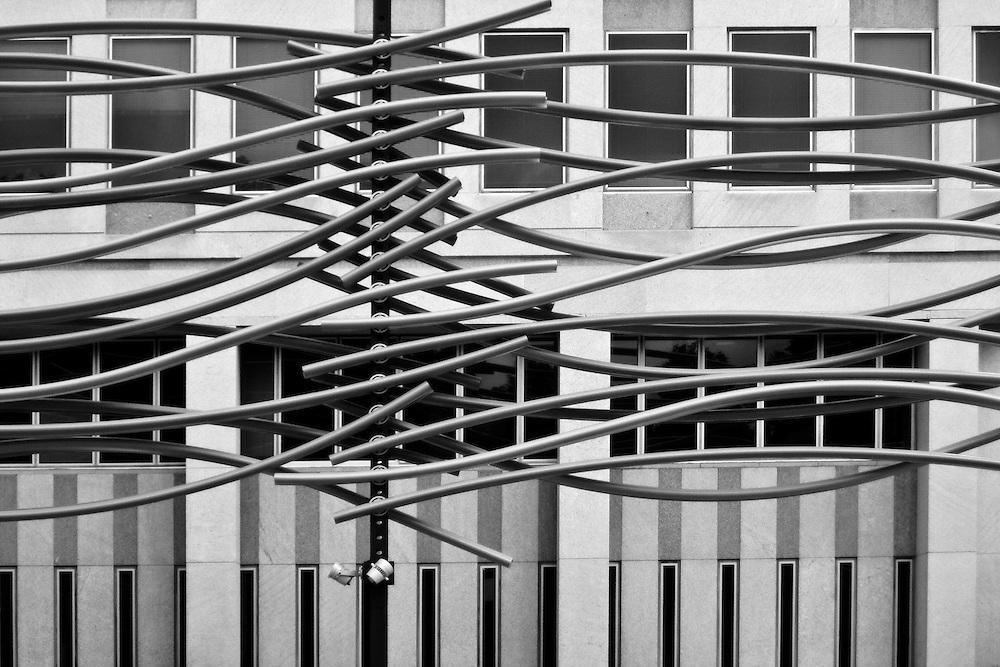 Street Sculpture and Bank of Canada Building, downtown Regina Saskatchewan