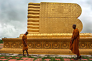 Buddhist novice monks visit Wat, Songkhla Province.