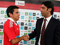 20090630: LISBON, PORTUGAL - Argentine star Javier Saviola presented in SL Benfica. The former Barcelona and Real Madrid striker signed a three year contract. In picture: Javier Saviola and Rui Costa (Benfica Sport Director). PHOTO: Pedro Evangelista/CITYFILES
