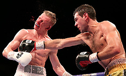 Sergio Garcia (right) lands a punch on Ted Cheeseman during the European Super-Welterweight Championship contest at The O2 Arena, London.