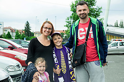 Suad Filekovic with his family after NK Maribor became Slovenian National Champion 2015 after football match between NK Maribor and NK Luka Koper in 36th Round of Prva liga Telekom Slovenije 2014/15, on May 30, 2015 in Stadium Ljudski vrt Maribor, Slovenia. Photo by Vid Ponikvar / Sportida