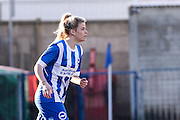 Danielle Rowe action portrait taken during the FA Women's Sussex Challenge Cup semi-final match between Brighton Ladies and Hassocks Ladies FC at Culver Road, Lancing, United Kingdom on 15 February 2015. Photo by Geoff Penn.
