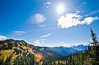 A sunny sky and mountains, North Cascades, Washington, USA.