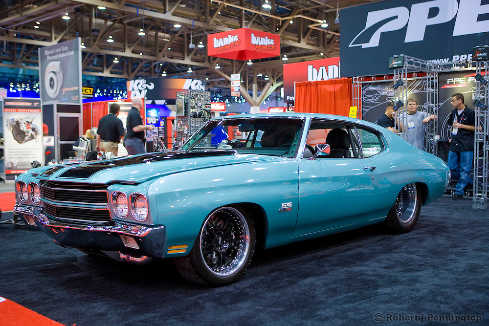 1970 SS Chevelle equiped with a modified 6.6 Duramax Diesel engine. SEMA 2009 in Las Vegas Nevada.