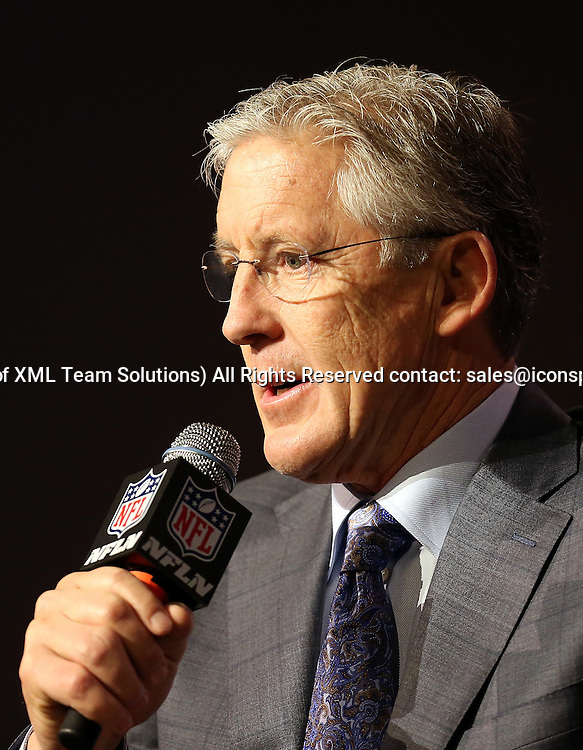 30 January 2015: Seattle Seahawks head coach Pete Carroll speaks to the media during the Super Bowl XLIX press conference at the Phoenix Convention Center in Phoenix, Az.