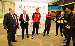 ADELAIDE, AUSTRALIA - Saturday, July 18, 2015: Liverpool's Managing Director Ian Ayre, captain Jordan Henderson and manager Brendan Rodgers meet local media during a press conference at Adelaide Airport ahead of a preseason friendly match against Adelaide United on day six of the club's preseason tour. (Pic by David Rawcliffe/Propaganda)
