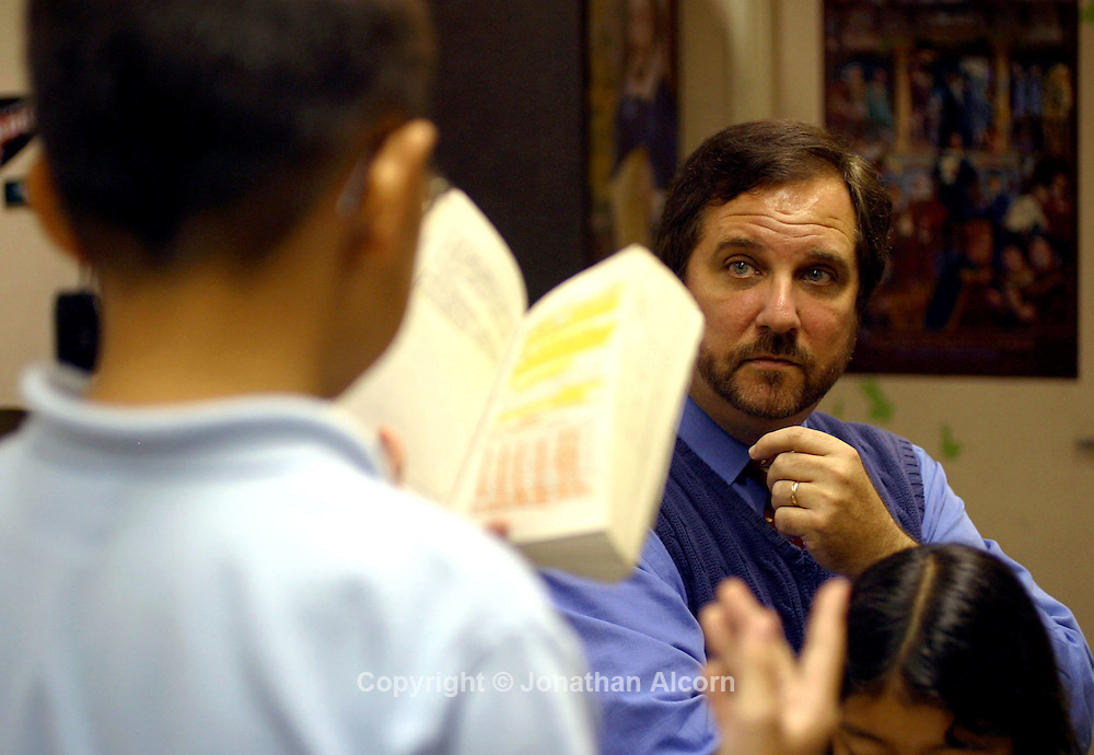 ED-ESQUITH 10-09-03 Los Angeles, CA.  Rafe Esquith, a 5th grade teacher at Hobart Elementary School ,advises Kai Perez on delivery of his lines as Hamlet , an afterschool group of students led by Esquith is putting a unique spin on the play.  photo Jonathan Alcorn