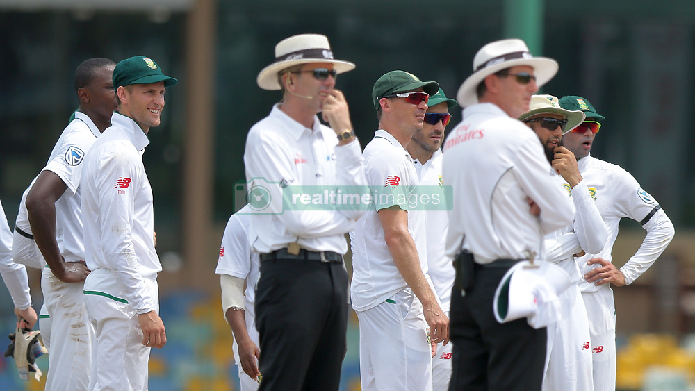 July 19, 2018 - Colombo, Sri Lanka - South African cricket captain Faf du Plessis and team members look at the big screen during the first day of the 2nd test cricket match between Sri Lanka and South Africa at SSC International Cricket ground, Colombo, Sri Lanka on Friday 20 July 2018  (Credit Image: © Tharaka Basnayaka/NurPhoto via ZUMA Press)